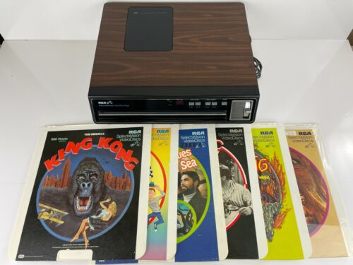 Vtg RCA Selectavision SGT100W Video Disc Player W/6 Movies, King Kong, The Thing