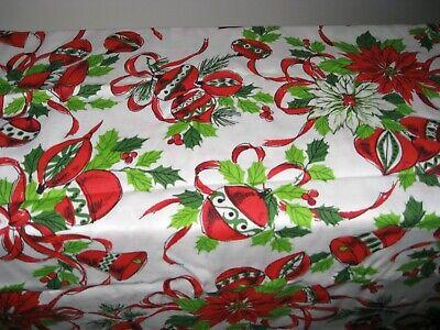 VINTAGE Christmas Poinsettia TABLECLOTH 52x52 SQUARE