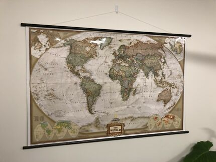 Framed map of the world art gumtree australia inner sydney world map large format scroll hanging gumiabroncs Images
