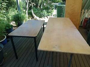 2 Wooden Trestle Tables plus metal legged table - FREE