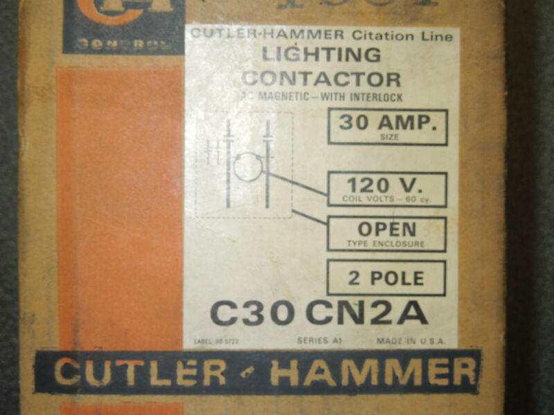 Cutler Hammer 30amp 120V 2pole lighting contactor C30CN2A