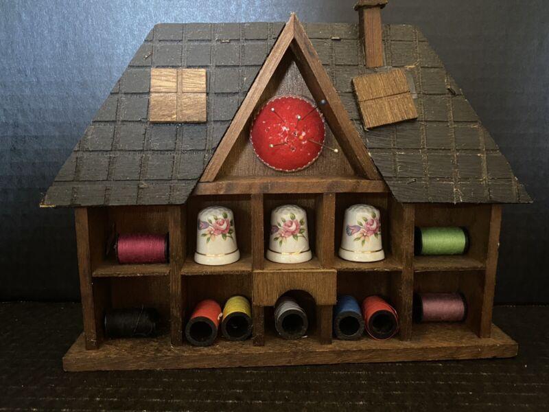 VINTAGE Wood Thimble Threads Pin Cushion DISPLAY WALL HOUSE BOX