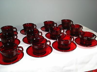 Vintage 12 Pairs Sets Ruby Red Glass Arcoroc France Cups and Saucers (24 Piece)