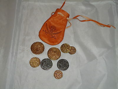Real Like Leather Bag With Metal Coins Replica Pirates / Theatre Film Prop - Real Pirate Costumes