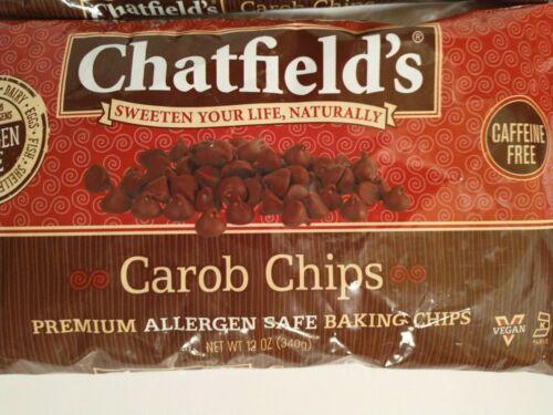CHATFIELDS~ Carob Chips~ Premium Allergen Safe Baking Chips~ 12 Oz bag~ 2 pack