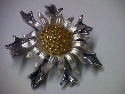 Brosche Distel Trachtenbrosche in Silber 925 tri-color mit Sicherheitsverschluss