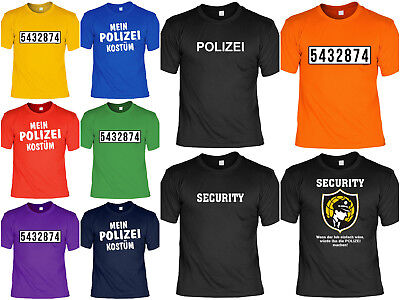 Polizei T-Shirt - Security - Sicherheitsdienst - Sträfling Nummer - Kostüm Party