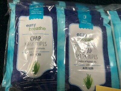 12X Easy Breathe CPAP Mask Wipes with Aloe Vera Travel Packs of 10 each Cpap Breathing Mask