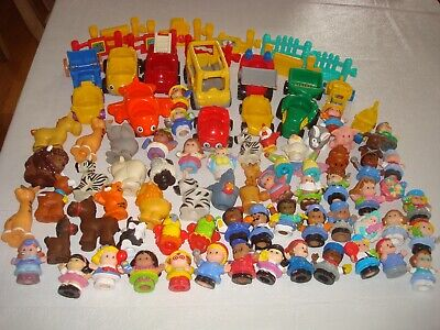 Lot of 86 Vintage Fisher Price Little People Figures Vehicles Farm Zoo Animals