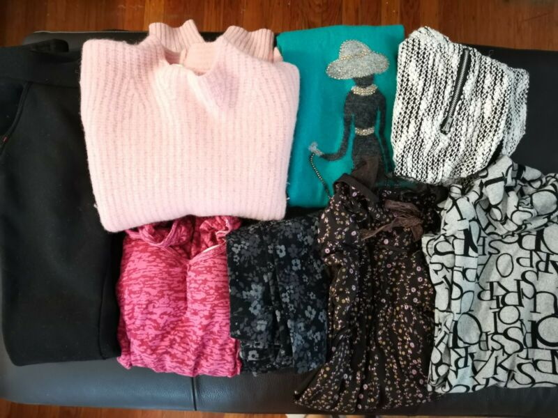 13p size small teen women clothes lot wool sweater jeans leggings lace shirt