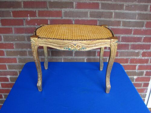 CANED CANE FRENCH STYLE GOLD GILT WOOD STOOL BENCH OTTOMAN #1