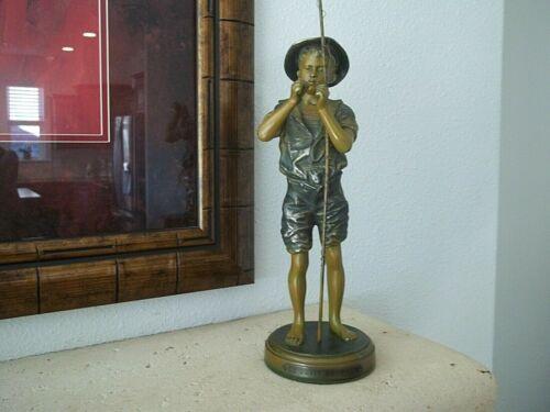 Antique 19th c Bronze statue LE PETIT PECHEUR (The Little fisherman)