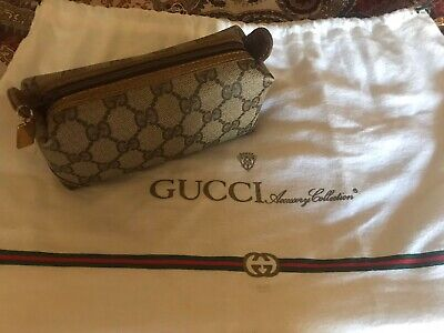 """Vintage GUCCI Brown Coated Canvas """"GG"""" Monogram Makeup Clutch Accessory Bag"""