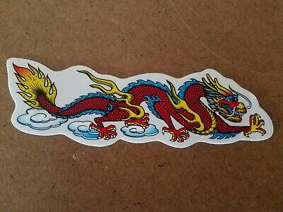 Chinese Dragon Face (Chinese Dragon (Red) Vinyl Sticker facing Right. 5 1/8