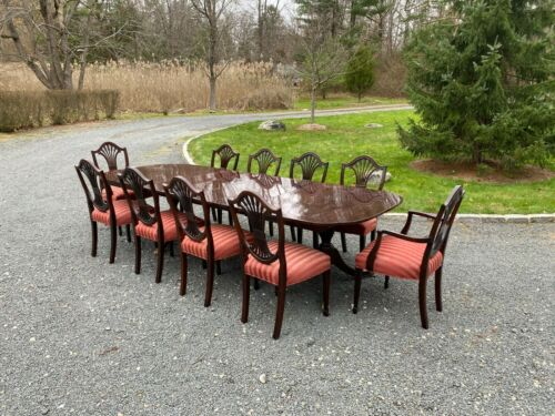 Stickley Dining Set: Monroe Place Table with 4 Leaves, 10 Chairs & Pads