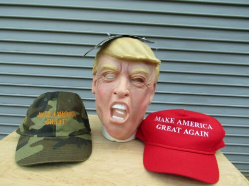 President Trump Halloween Party Mask With 2 Make America Great Again Hats