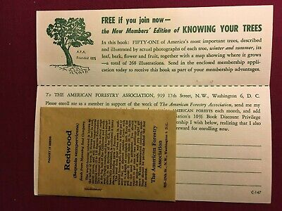 Vintage 1950's The American Forestry Association  Application With Redwood Seeds
