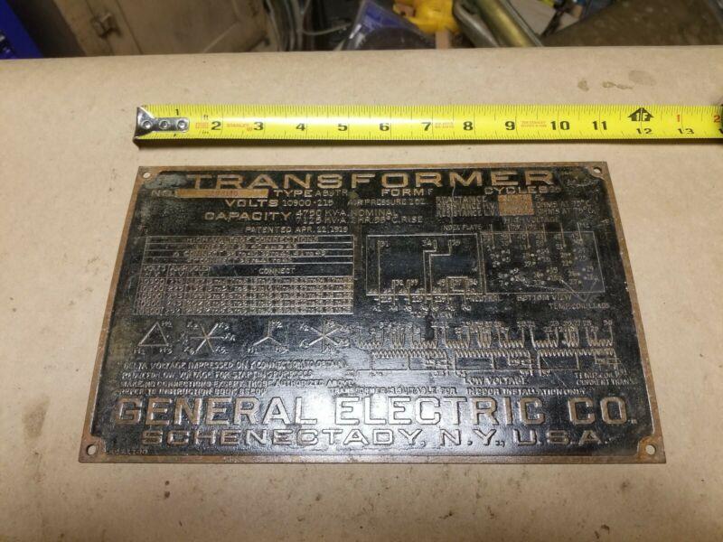Vintage Brass General Electric GE Brass Transformer Tag 1919