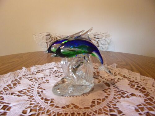 DOLPHIN DOUBLE SCULPTURE BLUE & CLEAR