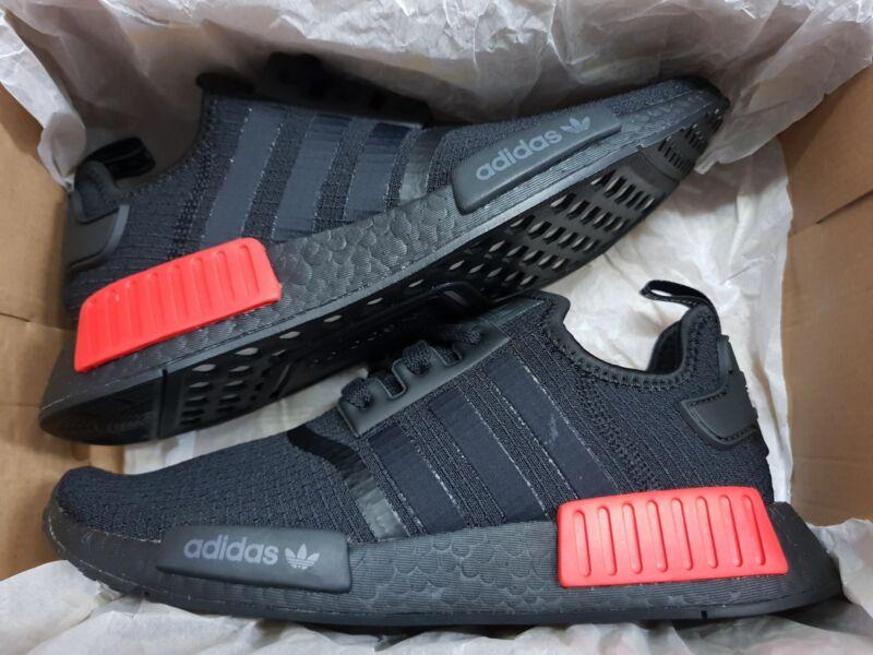 online store f579e dc81f Adidas Mens  B37618  Originals NMD R1 Ripstop - Bred Black Lush Red 8-13
