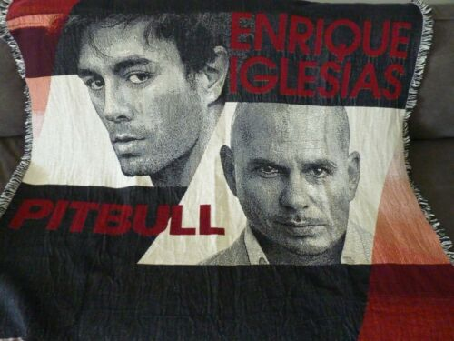 Pitbull & Enrique Iglesias Rare VIP Woven Blanket Throw Wall Display 2014 Tour