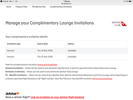 Qantas Lounge Ticket x 2 for sale =$100