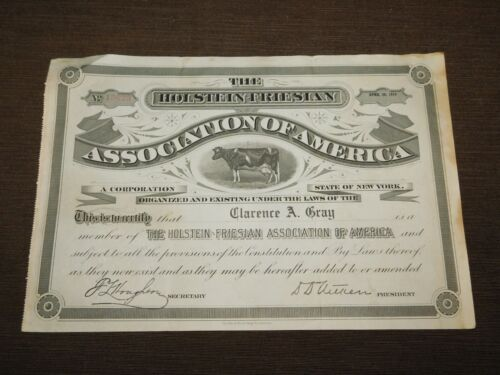 VINTAGE COW 1919 HOLSTEIN FRIESIAN ASSOC OF AMERICA CLARENCE GRAY CERTIFICATE