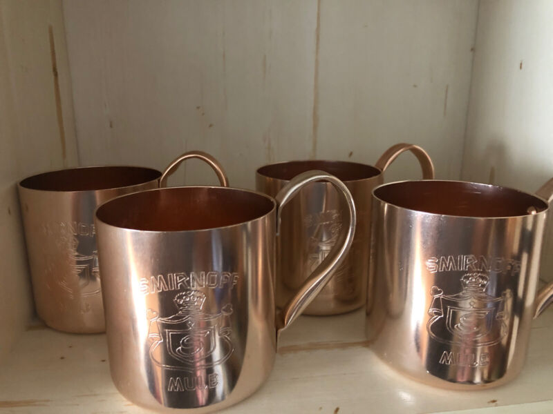 Vintage Smirnoff Moscow Mule Mugs Copper Cocktail Barware Cups Set Of 4 Stunning