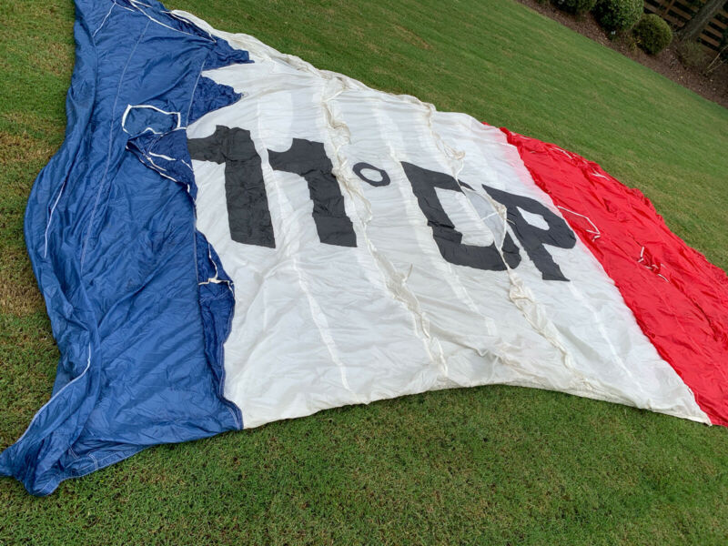 Parachute Parafoil Brand Red White Blue 16 By 11 American Made French Issue