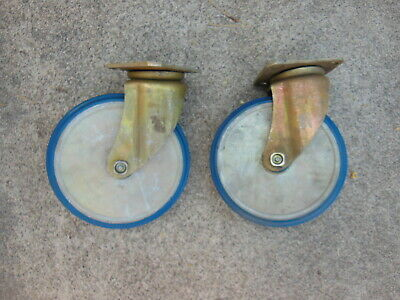 2 Heavy Duty 8 Swivel Casters - Total 9 38 Tall - By Bassick - New