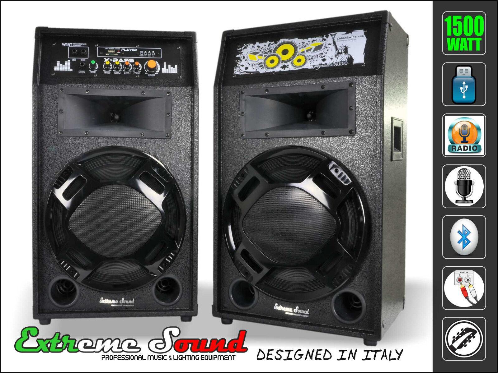 2 CASSE POTENZA 1500Watt Bluetooth USB RADIO FM Karaoke DJ Extreme Sound EXS-12E