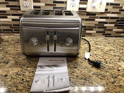 KitchenAid KMT4115CSS 4-Slice Toaster w/ Manual High-Lift Lever, Contour Silver
