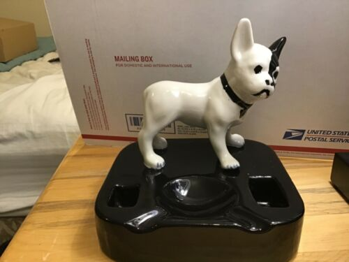 Antique Rare 1930s Boston Terrier Dog Porcelain Over Cast Iron Figurine Ashtray