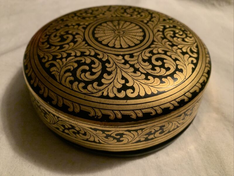 Vintage Burmese Lacquer Coaster Set Gold Leaf On Black
