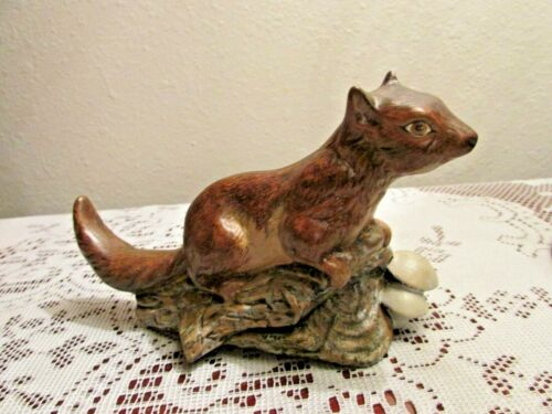Squirrel Porcelain Figurine Vintage Sitting on Log with Mushrooms Autumn Decor