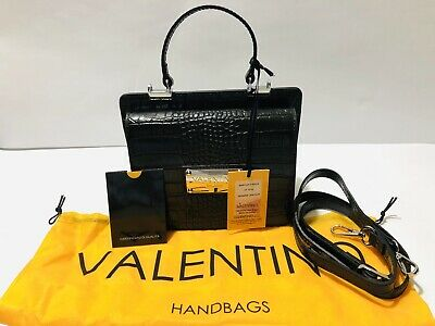 VALENTINO By Mario Valentino Model Marylin Croco Black Crossbody Bag NWT ($500)