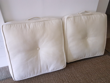 Floor cushions - off white, faux suede $20 ea or $35 both