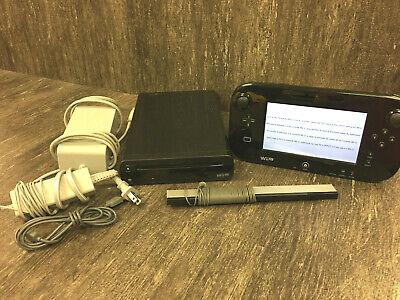 Nintendo Wii U 32GB Black Console Gamepad Stylus Motion Sensor AC Adapter Nice!