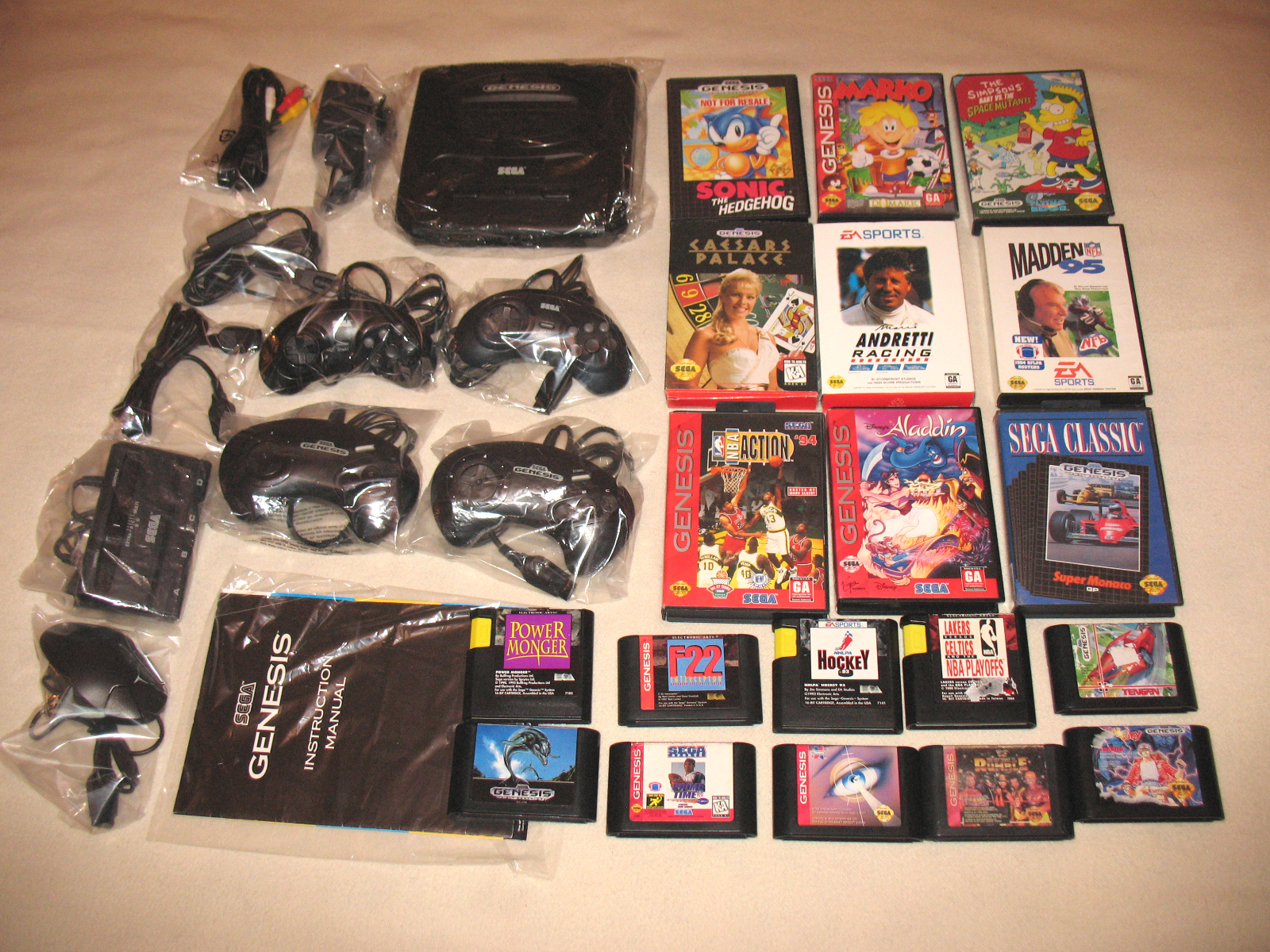 """Sega Genesis II System Bundle + 19 Games"" Preowned/All Hookups/Extras"