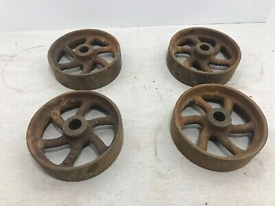 Vintage Cast Iron Cart Wheels 5 Steampunk Industrial Lot Of 4