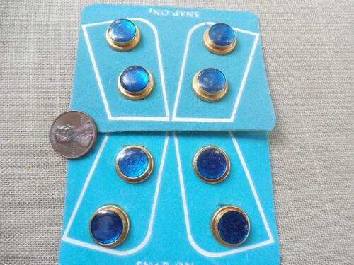 Vintage NOS 2 sets 1980s blue gold tone button covers original display MC #4