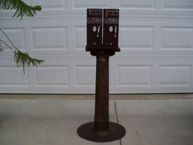 Antique 4&5 Cent Double Schermack Stamp Machine Pedestal Base Cartersville Bank