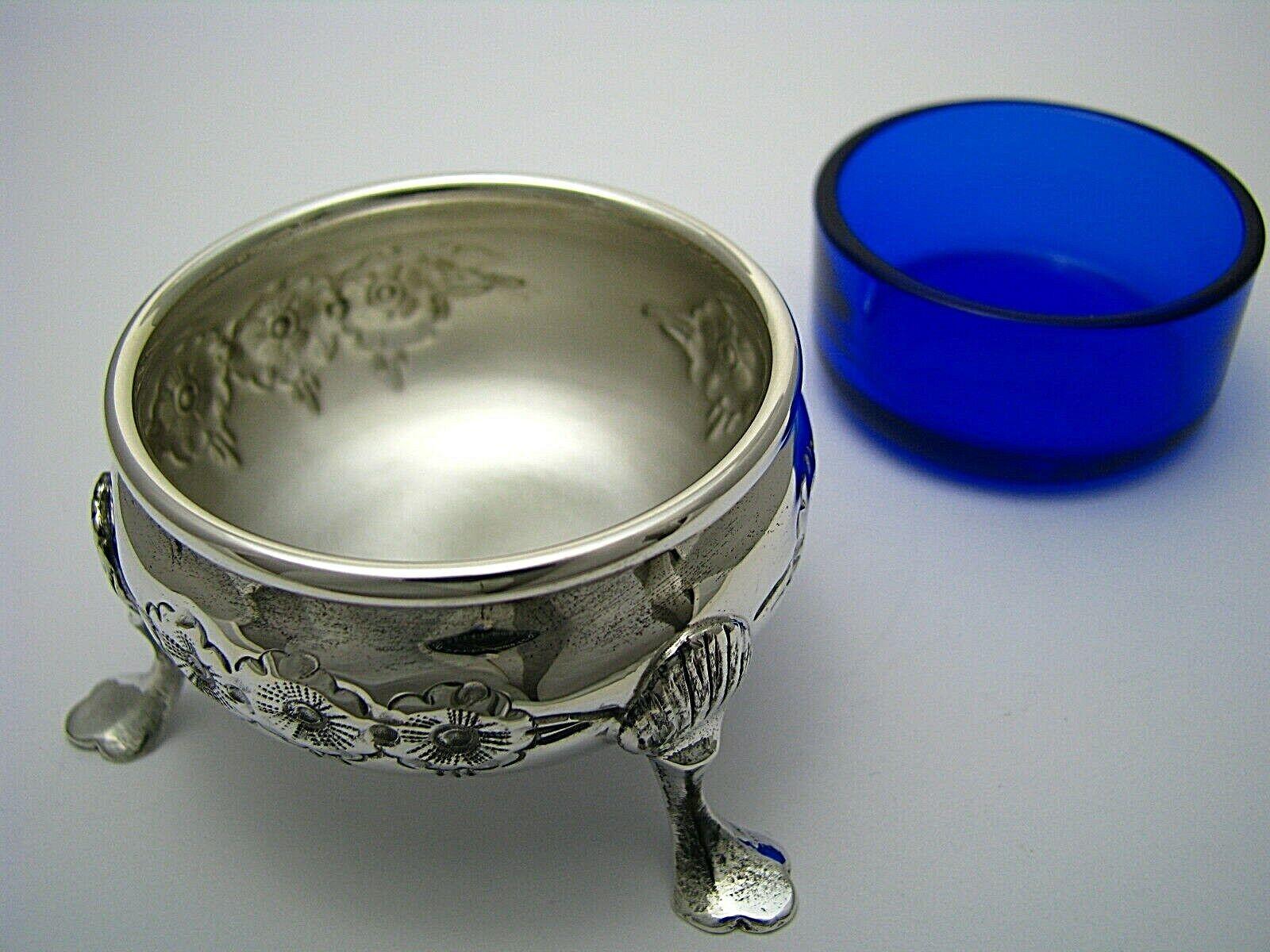 2 STERLING SILVER SALT CELLARS COBALT GLASS LINERS Baldwin Miller C1950s Rare  - $295.00