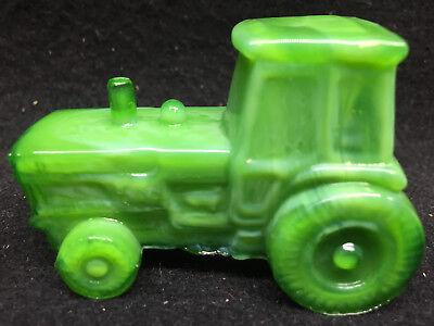 Green Jadeite milk glass farm tractor candy container john deere Slag Jade swirl