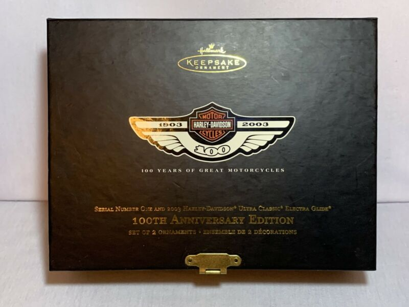 2003 Harley Davidson 100th Anniversary Hallmark  Keepsake Ornament Set