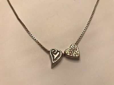 """Fancy Puffed Heart - Vintage Fancy Sterling Silver w/ Puffed Heart Charm Pendants & 16"""" Box Necklace"""