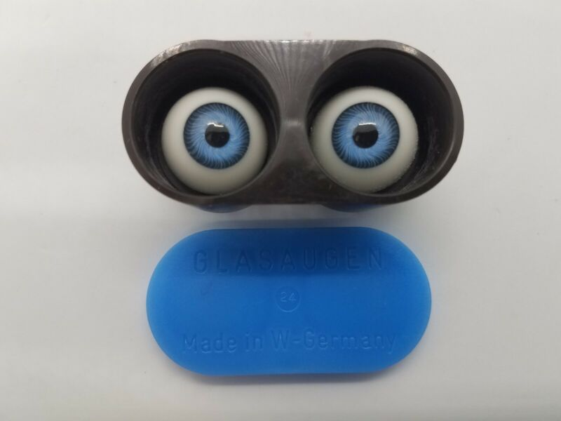 Glasaugen 24mm Blown Glass Blue Doll Eyes W. Germany New Old Stock