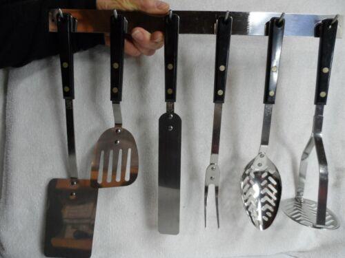 Vintage Ekco Forge 6 Stainless Steel Utensils Black Riveted Handles and Rack