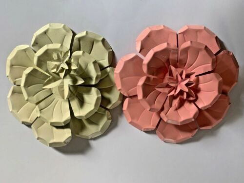 """Two Tin Metal Flower Wall Decor Plaques Set of 2 Pink and Cream Color 10.5"""""""
