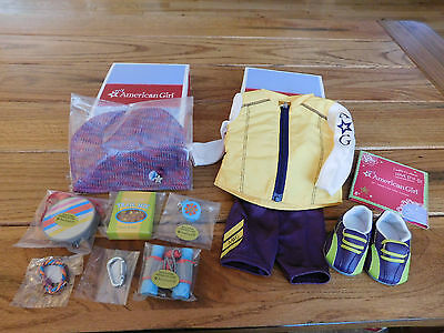 (AMERICAN GIRL MYAG TRAIL ACCESSORY SET + CYCLING OUTFIT NEW IN BOX FREE SHIPPING)